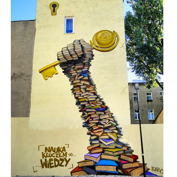 """Science Is The Key To Knowledge"" Artwork by BARYS spotted on the streets of Lodz, Poland #streetart http://t.co/Hzb23aN5in"