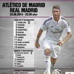 La alineación del partido ante el Atlético de Madrid, en exclusiva en Twitter! #AtletiRealMadrid #RMLive http://t.co/wcOuPuj5uK