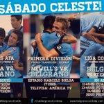 ¡Se viene un sábado celeste! #Belgrano juega vs. #NOB en Rosario, y en Córdoba hay Juveniles de AFA y Liga Cordobesa. http://t.co/0SKuUo1E2H