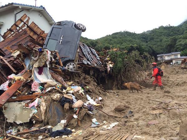 広島の被災現場。災害救助犬が活躍。72時間内になんとかと、えらい危ない現場に入っていました。ホンマご苦労さんです。 http://t.co/3yBCiLQc2a