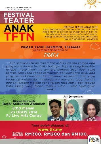 Festival Teater Anak  23rd August 2014 8pm @ Theatre  Box Office: http://t.co/DK5V0Txp6V   037960.439  @TFTNofficial http://t.co/nA3uVu3KjH