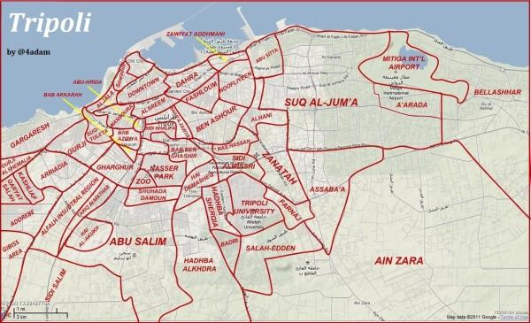 Map of #Tripoli's districts made by @4Adam in 2011 for those unfamiliar with the city. #Libya http://t.co/JO5o9gLU5U