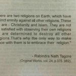 RT @ashishright: Islam means Peace. Sorry , Tagore doesnt agree with this. @TeestaSetalvad http://t.co/FScf5mXfQH