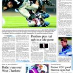 Sports front: Pats batter Panthers; Butler blasts W.Charlotte; Edwards focused on title, not JGR; Hairston signs. http://t.co/z512uqmdHq