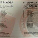 RT @JamesShield1: Sheffield United v Crawley Town team sheet. #sufc #twitterblades #ctfc http://t.co/vFCA9ANNn7