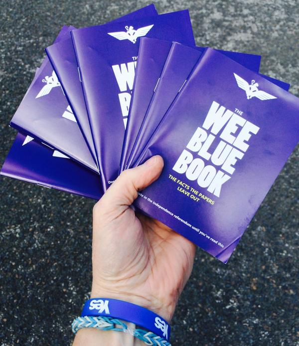 Glad to get my hands on a few of these charmers for the undecideds! #WeeBlueBook #IndyRef http://t.co/PYBlS8SKta