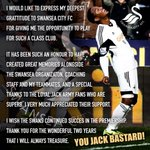RT @jdeguz: To all my Swansea City Jack Bastards! http://t.co/95Knmk6m0Q