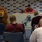RT @OfficialRUFC: Lee Frecklington speaking to the national media....and a rather large stuffed lion. #rufc http://t.co/yeHE5EuvYT