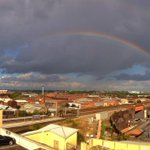RT @Vemsteroo: Epic rainbow action over #Birmingham right now! #Brumbow #pano #iphoneography http://t.co/7nrj3KtuTF