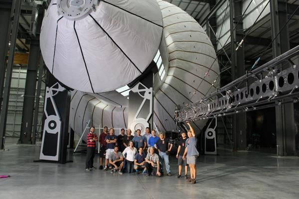 "Cast & crew of IMAX ""Journey to Space"" (2015) @BigelowSpace with mockup of massive inflatable spacecraft. http://t.co/c4mYcTCQNH"