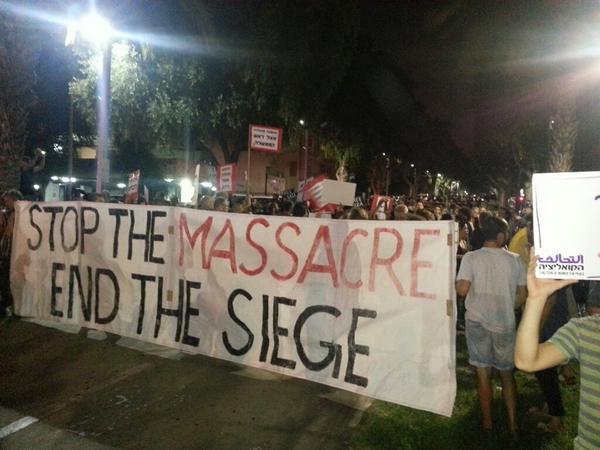 Hundreds demonstrating right now in Tel Aviv against the massacre in Gaza #GazaUnderAttack #antifa972 http://t.co/DFUv2v7egD