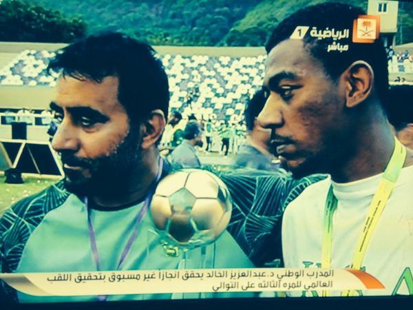تركي الناصر السديري (@turkinsudairi): قدم كأس العالم..للملك عبدالله.  المدرب الوطني د.عبدالعزيزالخالد:إنجاز   كرة ذوي الاحتياجات الخاصة تحقق بطولة العالم http://t.co/XD8CaCXYY9