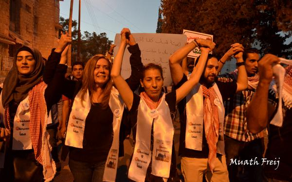 Muslims and Christians march in #Amman on Saturday to protest against the violence in #Iraq, #Gaza and the region http://t.co/M7opdgL3Wt