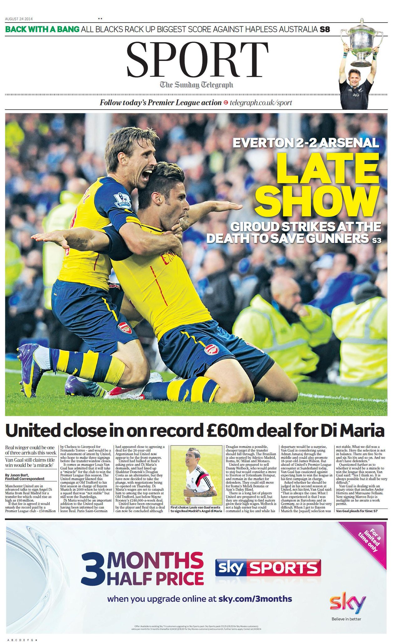 If not Angel Di Maria, Man United will move for Shakhtar star Douglas [Sunday Telegraph]