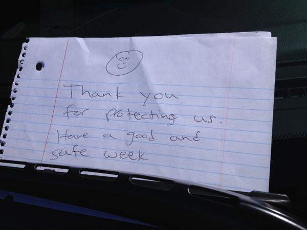 Wow.  Don't get these on the patrol car every day! Thank YOU mystery person! http://t.co/OHoZZCQ5qU