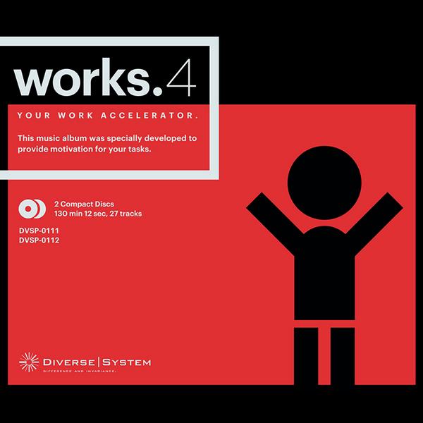 Diverse Systemの「works.4」は1枚目が「Light Work」、2枚目が「Hard Work」になってるけど、複数アルバムを同じアートワークにしたくないのでHardの方は色を反転させてみた。結果超絶ブラックに…。 http://t.co/I9vZP2RVCr