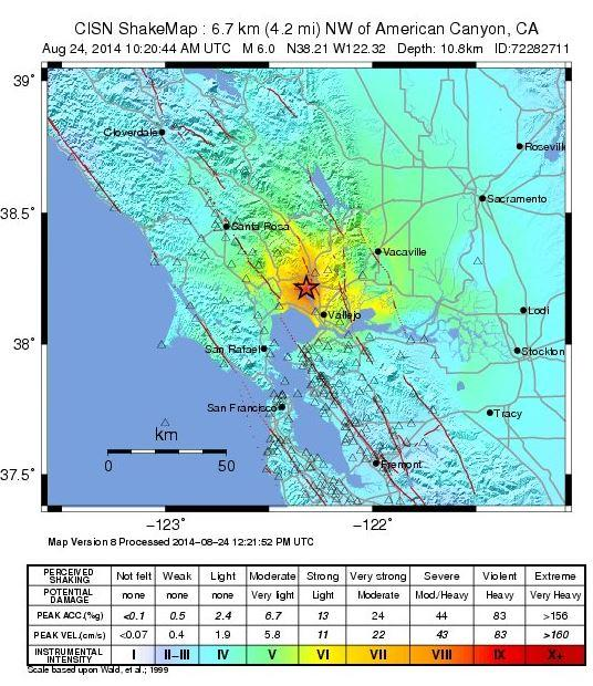 Here's the USGS shake map for the M6.0 that struck Napa, California  from http://t.co/OgV5fIS1uU http://t.co/oQ0Dy3n1uM