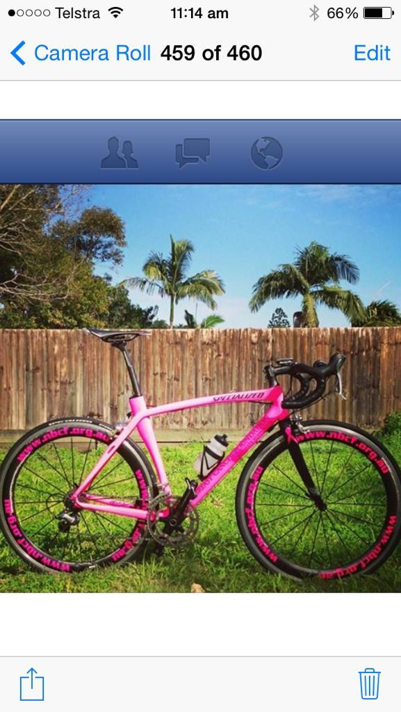 STOLEN in Brisbane yday - custom pink bike that was bought at breast cancer charity auction. Be on the lookout! http://t.co/8YNM33581F