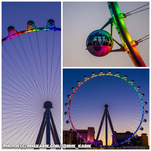 The @HighRollerVegas at @TheLINQ was lit up in a rainbow-themed light show in honor of Pride Week  #vegas #thelinq http://t.co/QsBTKgP2jb