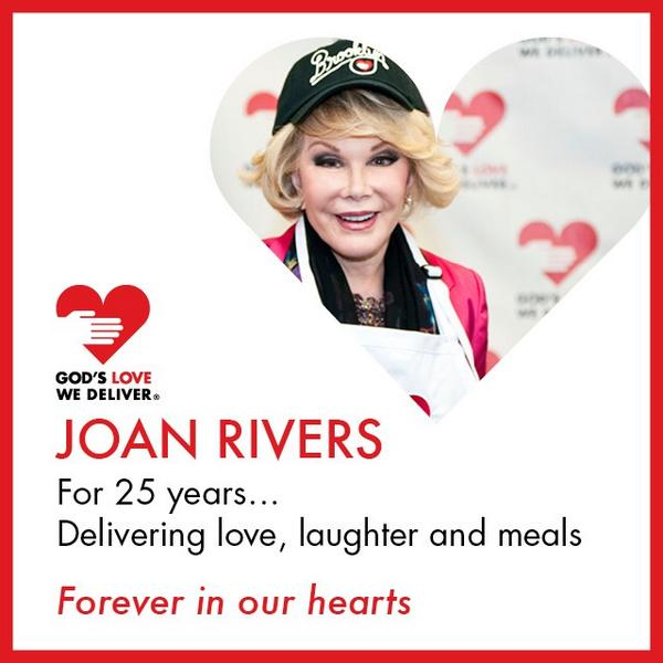 Thank you, @Joan_Rivers, for 25 years of delivering love, laughter and meals. You will forever be in our hearts. http://t.co/rddMbS4LR4