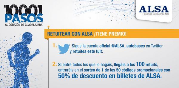 Diviértete en #10001pasos y @ALSA_autobuses ¡Si llegamos a los 100 RT podrás disfrutar de descuentos del 50%! http://t.co/HCk2Td5eyk