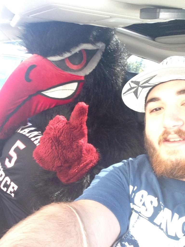 Found him hitch hiking to the game #goravens @FPUathletics http://t.co/Qjm35U4aLo