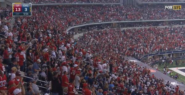 Is this game in Dallas... or San Francisco? #49ers http://t.co/0U4AYVVml5