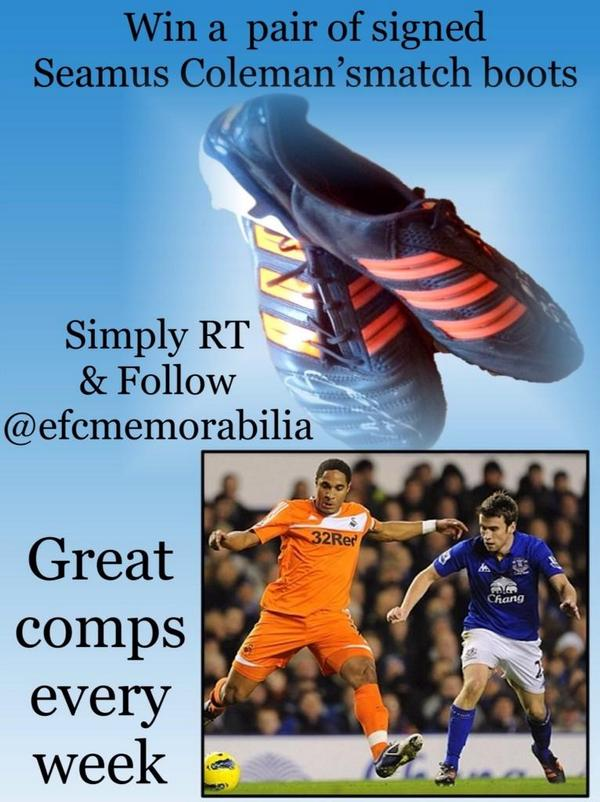 #win a signed pair Seamus Coleman match boots RT & follow @efcmemorabilia - @Followtonians @TOFnews @bluekippercom http://t.co/m3zefjuz6b