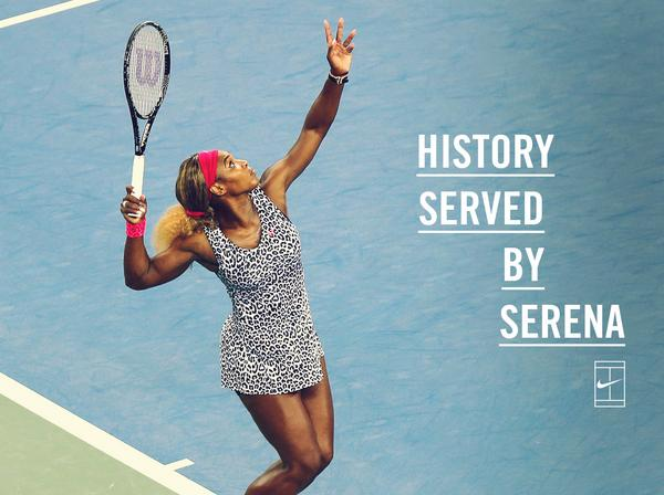 History served by Serena. @SerenaWilliams #nikecourt #USOpen http://t.co/Hgw4PkBzXS