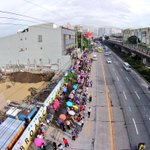 MRT passengers queue more than a hundred meters to get into the North Ave. Station. http://t.co/PyCMBfXsJf