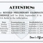 RE: REVISED PRELIMINARY EXAMINATION SCHEDULE http://t.co/eCrQzYkHmx