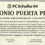 Gran detalle ha tenido hoy el Schalke 04 recordando a Antonio Puerta. En estas cosas se ve lo grande que es un club https://t.co/h2H0aeOI7o
