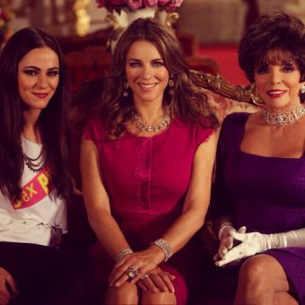 Elizabeth Hurley @elizabethhurley: On set yesterday with screen mum @joancollinsobe, screen daughter @alexxandrapark #TheRoyals #lovemyjob http://t.co/ogvkA339P2