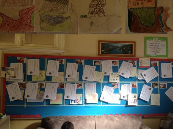 My class Genius project learning display wall. A square per student, ongoing work added each day. Nice! http://t.co/DkbW3HHDRw