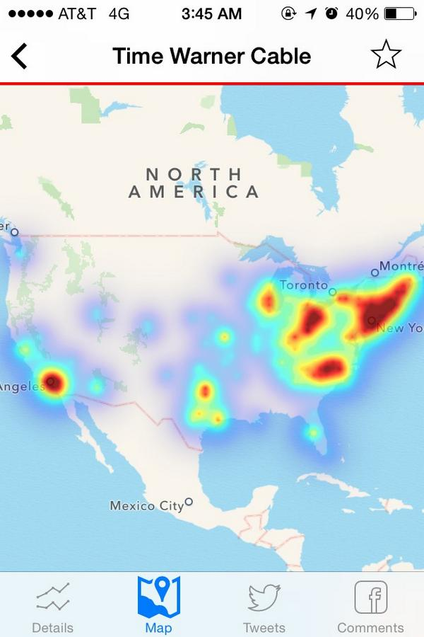 Time Warner Internet Cable Outage Map as of 3:45am PST. #TimeWarner http://t.co/DIx8smsmyF