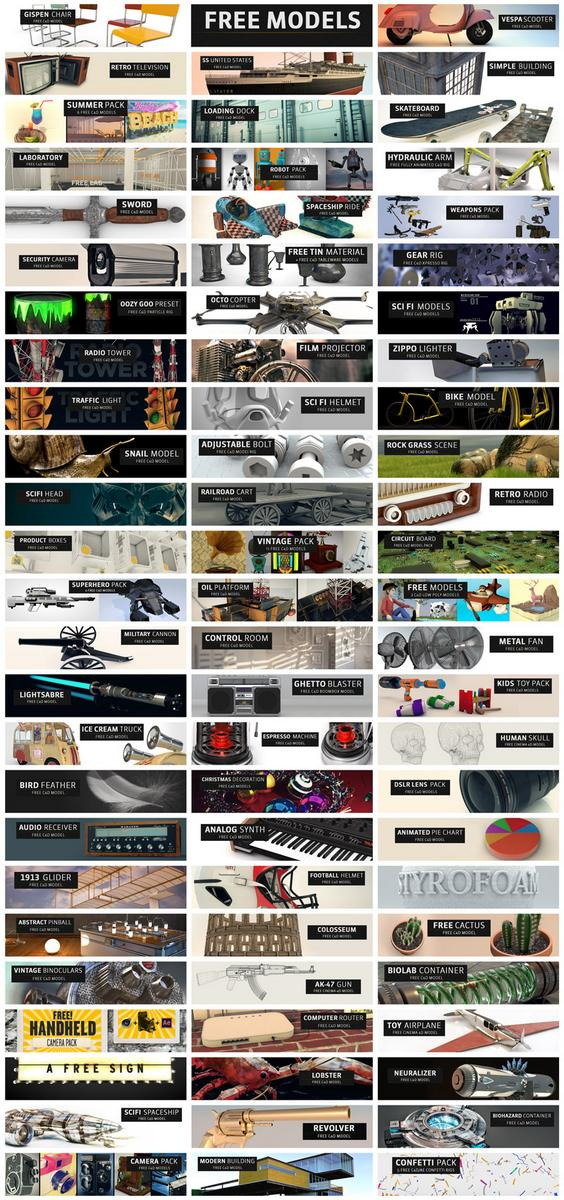 We're past 75 free #C4D models, crazy! Hope you're finding good use from them: http://t.co/t39tExMdxb http://t.co/JukBc0ZxMB
