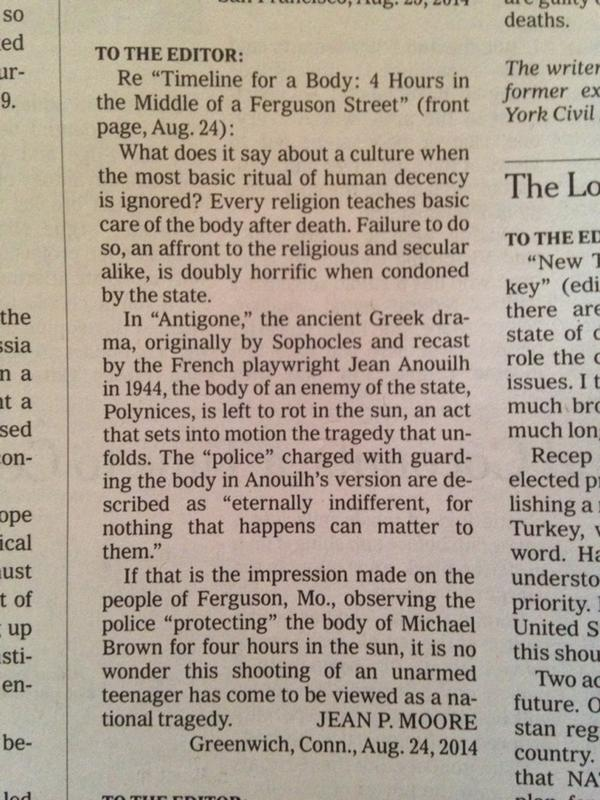 Letter-to-the-editor of the day. #Ferguson http://t.co/KYhkwAkY5w