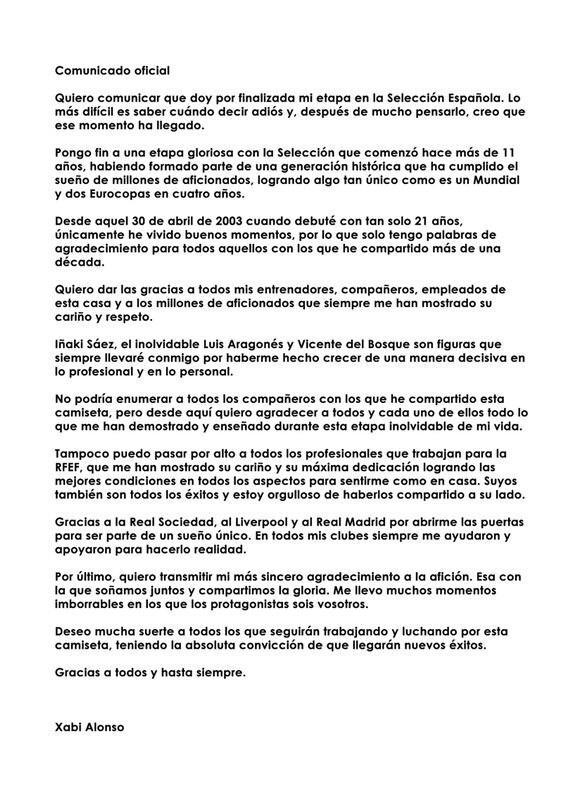 RT @XabiAlonso: Os quiero comunicar que hoy doy por cerrada mi etapa en la Selecci?n. ? Muchas gracias a todos ! http://t.co/i0KctYsJ65