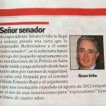"""RT @ErikaSalamanca: El + amenazado de COL, Uribe,tiene q entregar el apto, q paga, en instalación militar, xq """"alguien"""" ordenó resolución http://t.co/BHEdAeVTiv"""