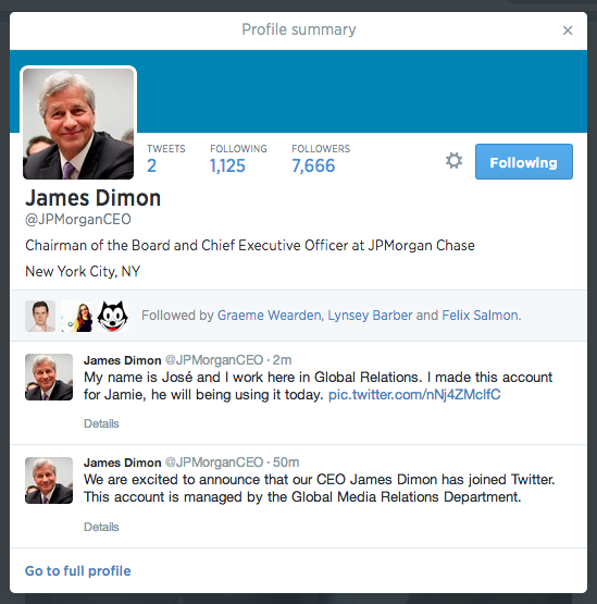 As a PR man I'm not overly inspired by the first tweets of the CEO of JP Morgan, James Dimon - @jpmorganceo http://t.co/fURwShTdgh