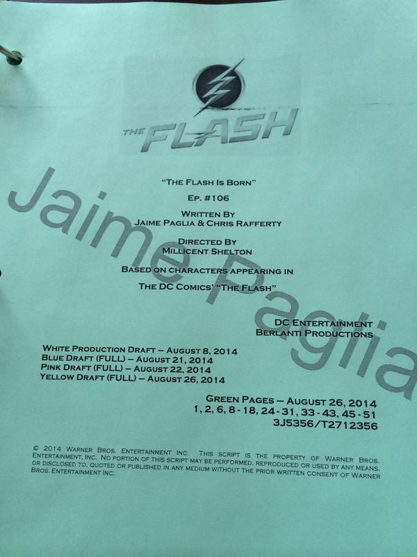 First day shooting #TheFlash ep. six starts in an hour. Co-written w/ @chris_rafferty, directed by Millicent Shelton. http://t.co/sXgqlojV3d