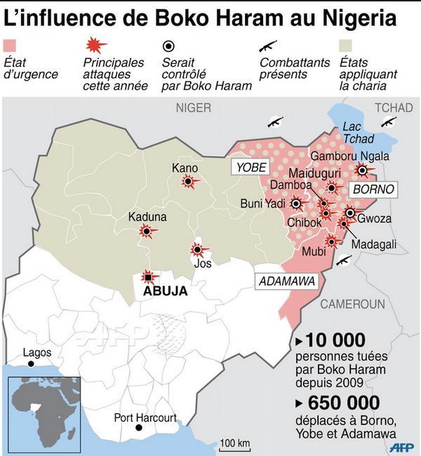 [INFOGRAPHIE] L'influence de #BokoHaram au Nigeria #AFP http://t.co/WcASNnnGoZ