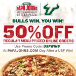 When @USFFootball wins #USF fans win thanks to Papa Johns! Get 50% off your order the next day after a #Bulls win! http://t.co/WTSyk1iknp
