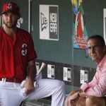 Wacha talks with Mo in the dugout at Hammons Field in Springfield, Mo. #STLCards #wachamania #cardinals http://t.co/UAnNvVvh5V