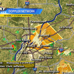 New severe thunderstorm warning not issued for the I-71 corridor from Prospect to downtown. 60 MPH winds possible. http://t.co/qQsEaoJTYb