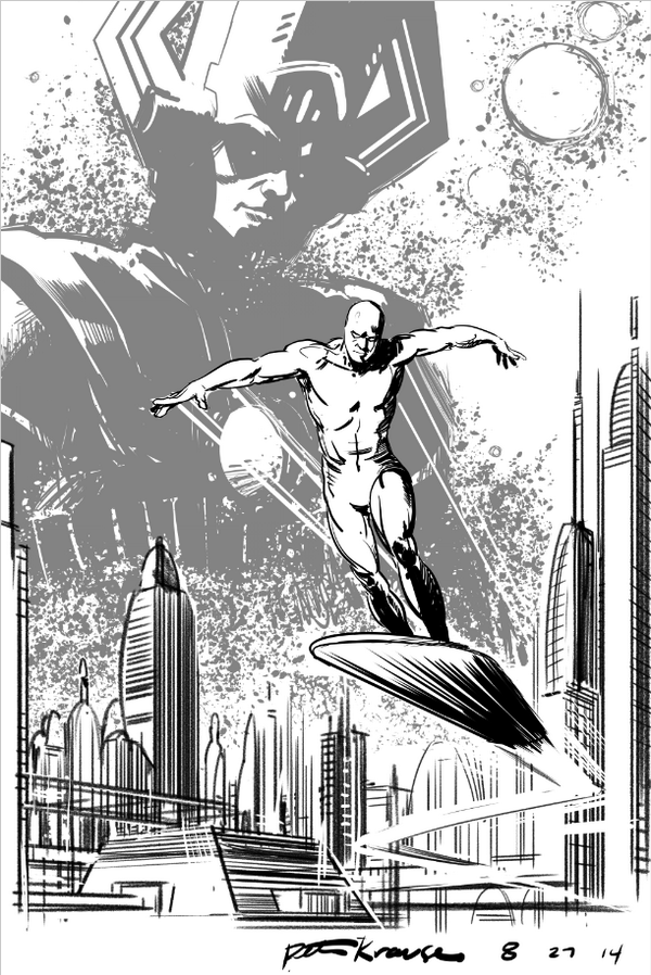 Finished up that Silver Surfer sketch from yesterday. If I get to it, might add color later. http://t.co/7rCOttY1HZ