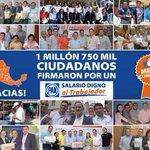 Lo logramos gracias a tí Video: http://t.co/ilCS6NVU8V 1750,000 ciudadanos ya nos dieron su firma c un #SalarioDigno http://t.co/Gx0EWc0N9x
