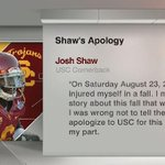 Josh Shaw has issued a statement through his attorney. http://t.co/7Gf5N7f72p