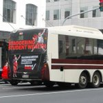 Spotted on Customs Street. The Internet MANA FREE Tertiary Education bus! (one of) #NZVotes #InternetMANA #NzPol http://t.co/yyYcNY8JFB