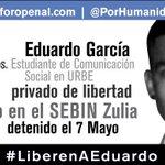#27Ag El no es una cifra, es Eduardo Garcia: 112 días privado de libertad. Estudia en #URBE #LiberenAEduardo http://t.co/MeHLUfaRmP